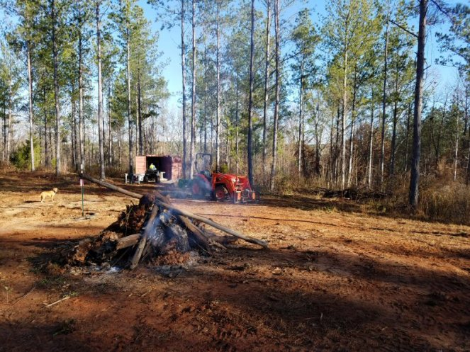 Bonfire at the future house site